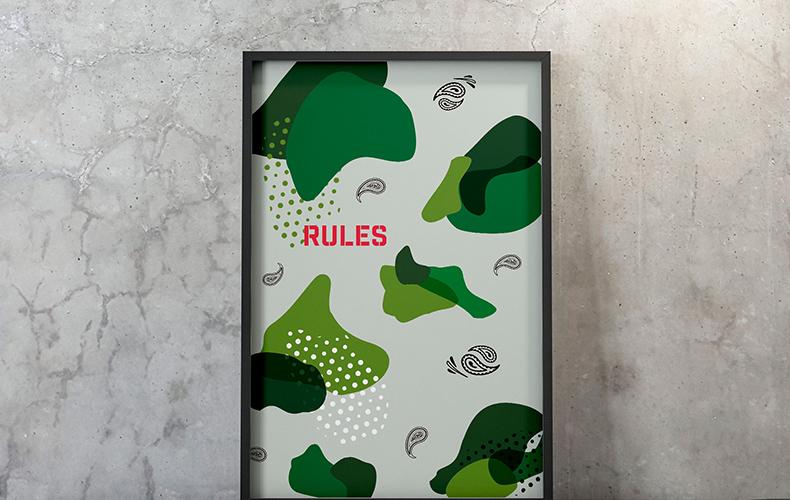迷彩柄だけじゃない、モダンなミリタリーテイストポスター