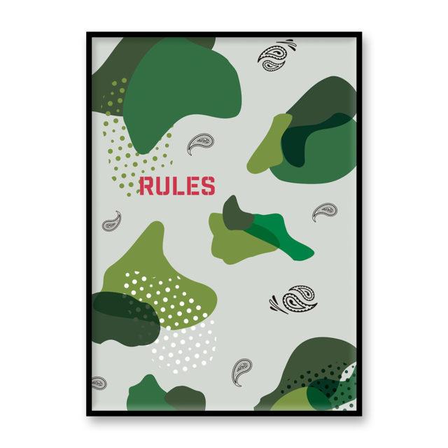 """アートプリント ポスター """"PS CAMO - RULES"""" グリーン"""